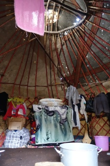Inside the yurt was dark and smokey