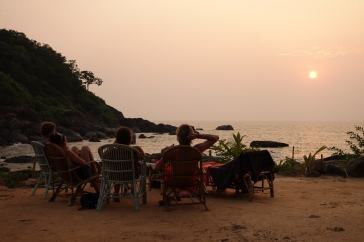 Sunset Goa beers with Rob and Celia