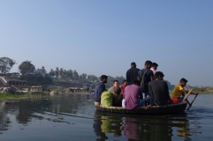 Comfortable on the coracle to Hampi Island
