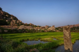 Boulders and rice paddies