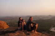 Enjoying sunset from the Monkey Temple perched high above Hampi Island