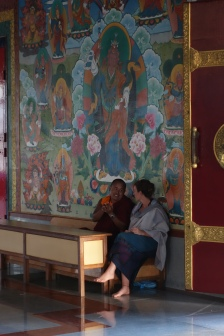 Discussing Buddhism with a monk
