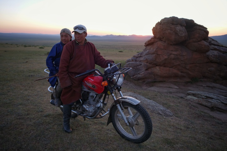 Father and son Mongol shepherds of the 21st Century