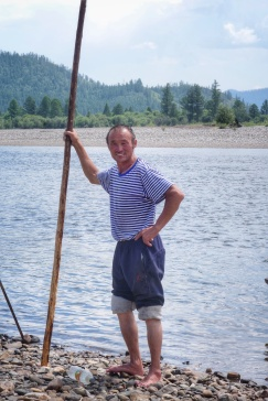 Our drunken sailor uses his big stick to power the boat and remain upright when on solid land