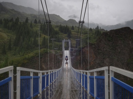 Cool bridge on the private land of Gazprom billionaires